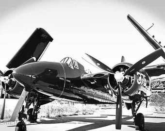 Grumman Tigercat Military Fighter Aircfraft, WWII Plane, Warbird, Wings Folded, 8x12 Bw Photo