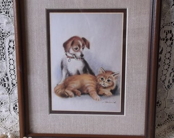 Vintage framed dog with cat picture, shabby wood, burlap inspired, rustic chic