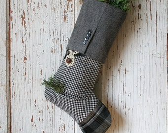 Vintage Lace, Houndstooth CHRISTMAS STOCKING, Black and White
