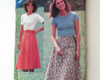 1970s Wrap Skirt Pattern See & Sew 3203 Womens Easy Front Wrap Flared Skirt Sewing Pattern Size XS-S-M Waist 23-28 UNCUT