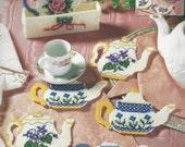 90s Tea Pot Coasters UnOpened Bucilla Plastic Canvas Kit Tea Pot Coasters and Holder Vintage Plastic Canvas Kit