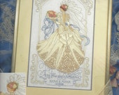 """90s """"Betrothed in Beauty"""" Bucilla Crewel Embroidery Kit with Silk Ribbon Embroidery Crewel Wedding Sampler Barbara Baatz UnOpened"""