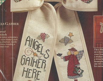 90s Debbie Mumm Bows Angels Gather Here in Counted Cross Stitch Kit 72292 UnOpened Cross Stitched Front Door Bow Kit Birthday Gift for Her