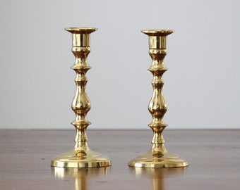 Brass Candle Holder Pair, Candle Holder Set, Set of Two Candlesticks, Taper Holders, Solid Brass, Brass Centerpiece, Brass Decor