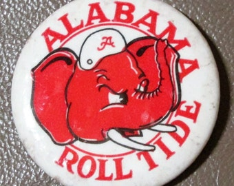 "University of Alabama Crimson Tide Roll Tide ""Big Al"" pin back from the 1950's ~ multiples available"