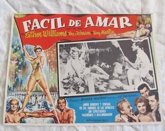 Vintage Spanish Mexican Movie Lobby Card Poster - Facil de Amar - Easy to Love