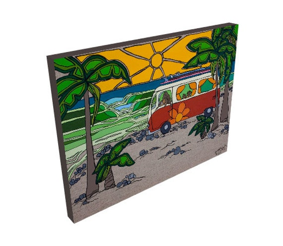 Large Canvas Print of Surfer Family in VW Bus Surf Art by  Lauren Tannehill ART