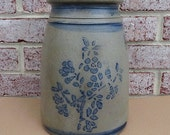 Antique Southwestern Pennsylvania 1 Gallon Wax Sealer Canning Jar with Sprig of Violets - STUNNING!!