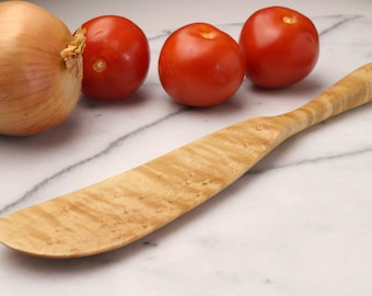 long wooden hand carved spurtle all around kitchen utensil made of Bird's Eye  Maple  , food photography prop , high-quality product