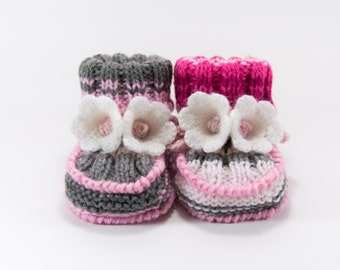 Hand Knitted Baby Booties - Gray, Pink and White, 6 - 9 months