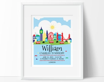 London nursery, London skyline, Personalized baby gift, birth stats, Birth Announcement Wall art, PRINTABLE Nursery decor, kids wall