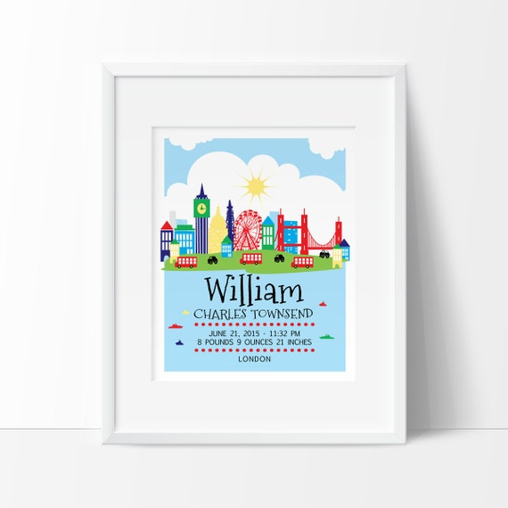 London nursery london skyline personalized baby gift birth like this item negle Image collections