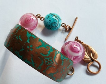 Etched Copper and Lampwork Bracelet