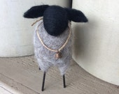 Primitive Wooly Border Leicester Sheep Needle Felted with Rustic Bell