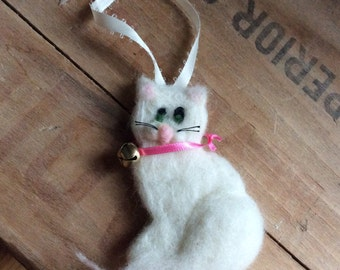 White Wool Cat Holiday Ornament Needle Felted Decor