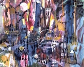 """Abstract Carnival Night, Ferris Wheel, Food, Games, Red, Yellow, Orange, Indigo Blue, Watercolor Painting Wall Art Home Decor, """"Celebration"""""""