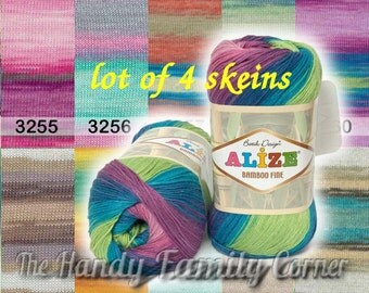 Lot of 4 skeins of Alize Bamboo Fine Yarn, Hypoallergenic Yarn, Batik Design. Pure bamboo. DK 8 ply 11 wpi. Bamboo viscose. Summer yarn. DSH