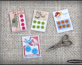 Miniature button cards for dollhouse sewing, 12th scale dollhouse miniature sewing accessory