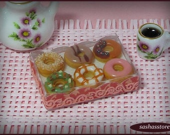 Box with donuts, miniature food, 12th scale dollhouse miniature