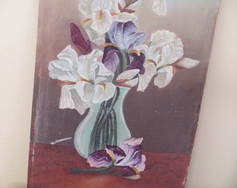Vintage Oil Painting / Victorian Edwardian Irises / 1890 to 1930 / 9 by 18
