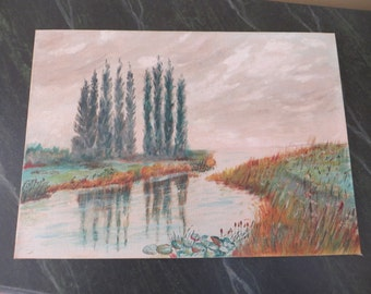 Vintage Oil Painting / Landscape with water / 10 X 14