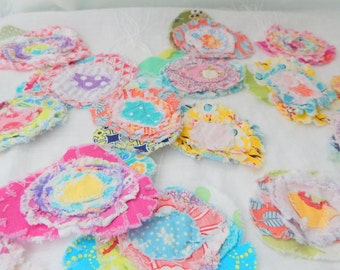 Fabric Flower Embellishment, Set of 12