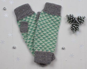 Mint green and grey triangle knitted fingerless mitts - made in Great Britain from lambswool