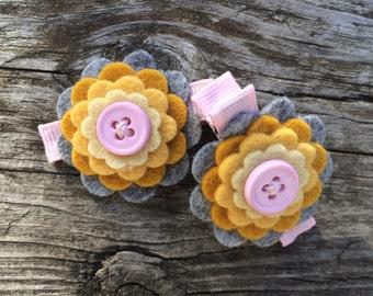 Gray Gold Yellow Pink Fall Wool Felt Flower Hair Clips Baby Toddler Girls