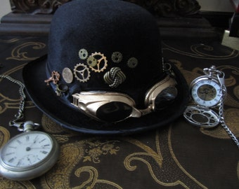 Steampunk Bowler Hat, Black with Bronze Goggles & Gears, Gentleman's Bolwer Hat, Steampunk, Steam Diesel, Time Travel Hat, Time Flyer Hat