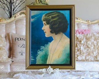 Fabulous Antique FLAPPER GIRL Framed PRINT, Shabby Chic, Victorian