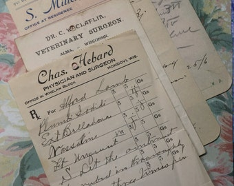 3 Antique 1906 Paper Prescriptions