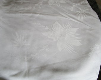 Over 3 Yards Vintage French White Damask Fabric Lillies Fantasy Flowers Floral 45 inches Wide Make Napkins Tablecloths Pillows