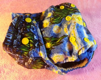 SassyCloth one size pocket diaper with Starry night cotton print. Made to order.