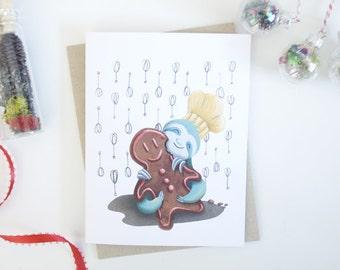 Sloth & Gingerbread Holiday Greeting Card