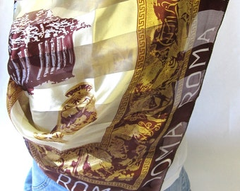 Vintage Roma Scarf Brown and Gold Rome
