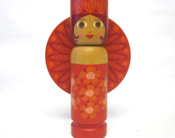 60's Mod Wooden Candlestick Candle Holder Truly Marvelous Millie Hot Pink Orange