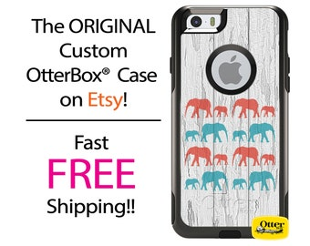 iPhone OtterBox Commuter Case for iPhone 7, 7 Plus, 6/6s, 6 Plus/6s Plus, 5/5s/SE, 5c Galaxy S7 S6 S5 Note 5 Custom Elephant Herd Wood Case