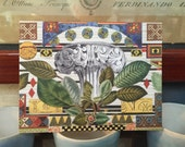 Pedestal with Leaves is a greeting card containing classical elements, handmade, decoupage print card, blank inside for any occasion message