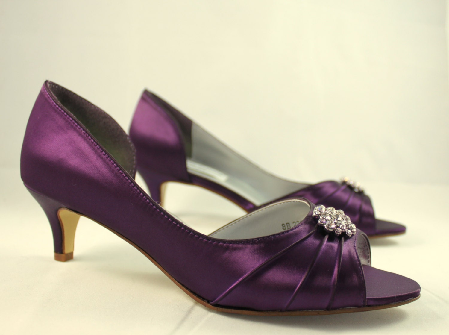 Incroyable Purple Wedding Shoes Low Heel SALE Size 8    1.75 Inch Heel   Aubergine  Colored Shoes Ready To Ship   Eggplant Shoe