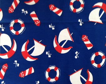 "Vintage 1960s Nautical Fabric  45 "" wide x 42"" long"