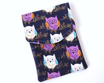 Owl Accessories Pouch, White Purple Navy, Coin Purse, Passport Pouch