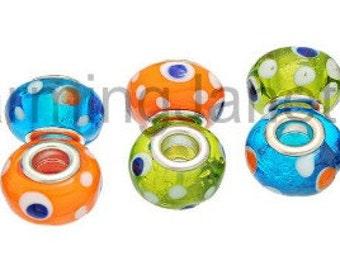 10 mixed Evil Eye MURANO glass BEAD European Bracelets Gift Jewelry Supply Supplies