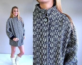 Half Off vtg 80s black+white HERRINGBONE slouchy COCOON COAT colorful os cape wool outerwear avant garde