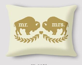 Wedding Buffalo Pillow by Katharine Jemison Love Bison Wedding Pillow 12x16 Mr+Mr Mr+Mrs Mrs+Mrs Custom Cotton Pillow Hand Sewn Zipper