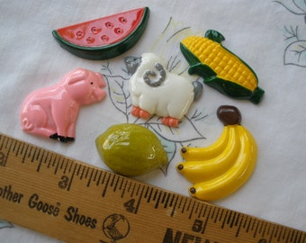 "Farm & Fruit cabochons Watermelon Banana Sheep Pig Lime Corn 1.5"" scrapbook figural buttons hand painted hair embellishment clothes crafts"