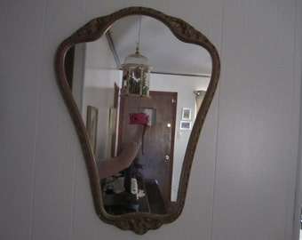 Wall Mirror Gold Frame Unique Shape Ready to Hang Hollywood Regency Vintage Decor