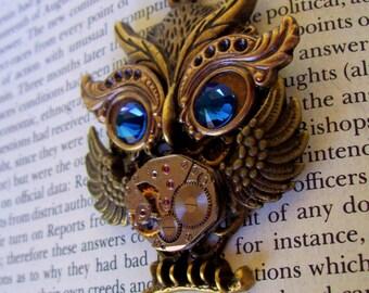 Steampunk Necklace (N628) Owl Pendant, Dame Edna Owlet, Steampunk Owl, Swarovski Crystals, Brass Chain