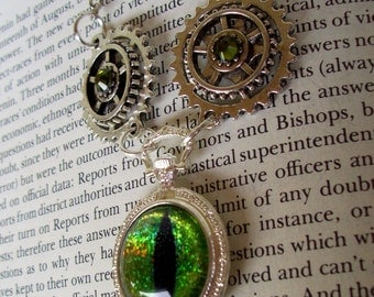 Steampunk Dragon Eye Pendant (N602) - Silver Mini Pocket Watch Pendant - 3D Prism Glass Eye - Silver Plated Gears and Swarovski Crystals