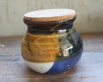 Handmade ceramic pottery canister sugar jar honey pot with cork lid in night sky series