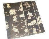 Vintage Wrapping Paper - Kitty Play - One Sheet Black Cat Gift Wrap